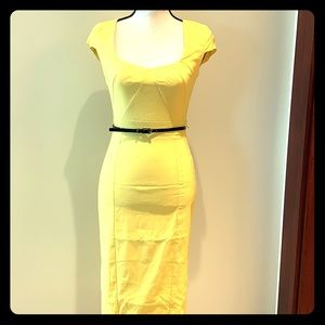 Pretty yellow dress with belt